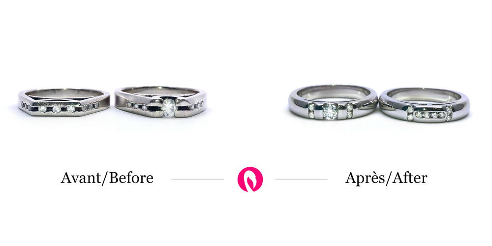 Transformation on two white gold rings with diamonds into two new rounded wedding rings with modern diamond setting.