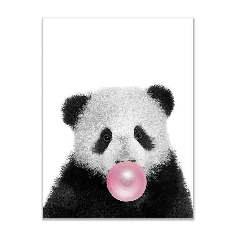 tableau panda avec un chewing gum