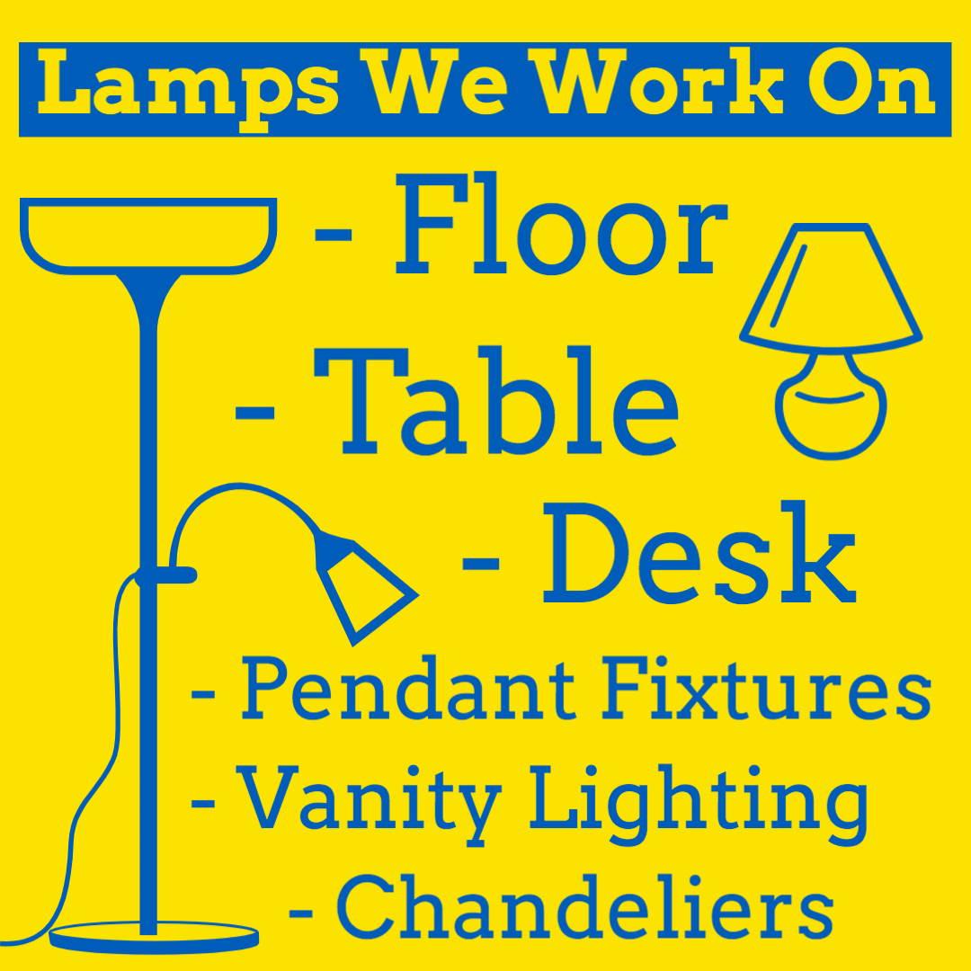 Types of lamps pacific lamp wholesale work on. Table lamps, floor lamps, desk lamps, pendant fixtures, vanity fixtures, chandeliers