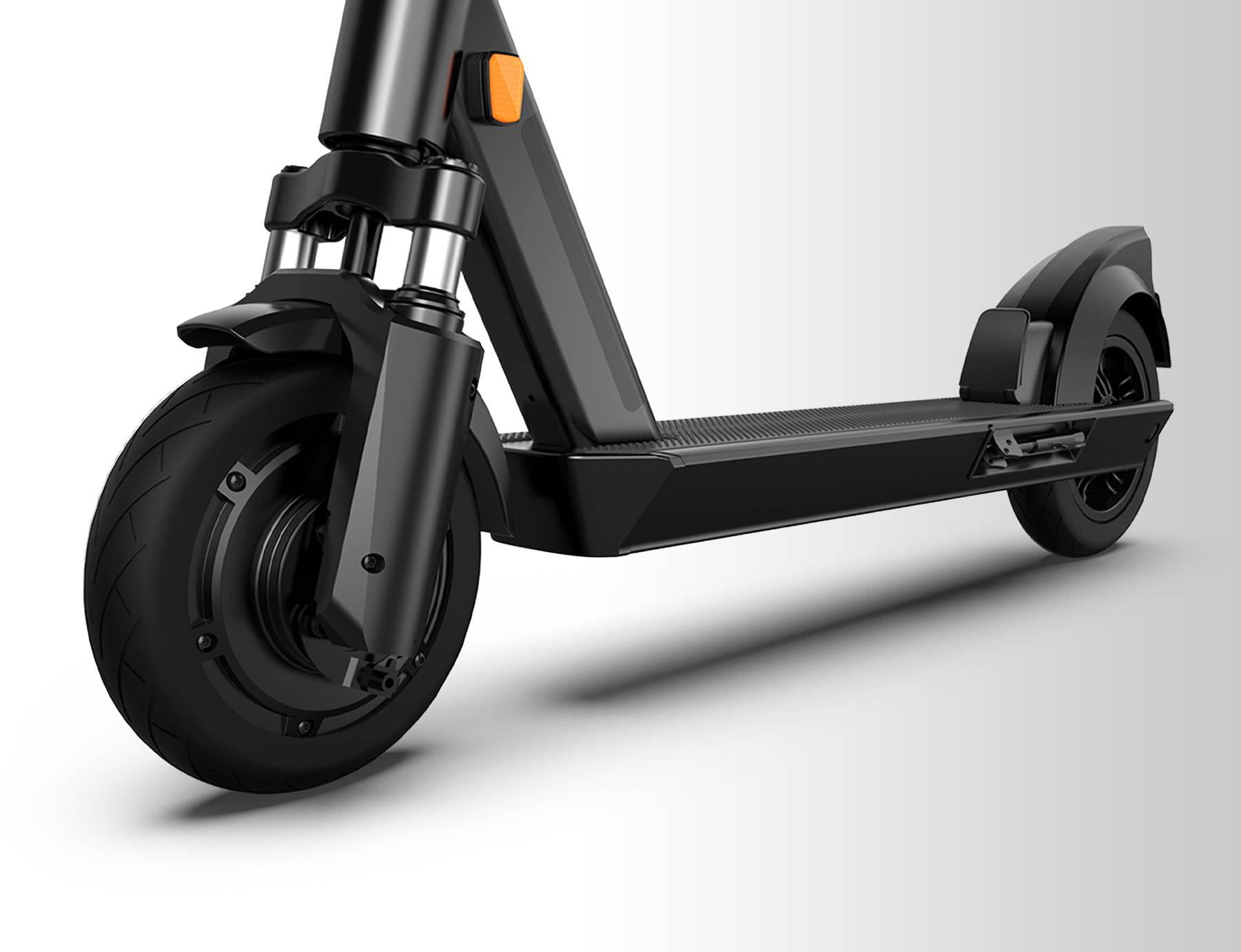ES200E-okai-escooter-front-wheel-suspension-reflectors