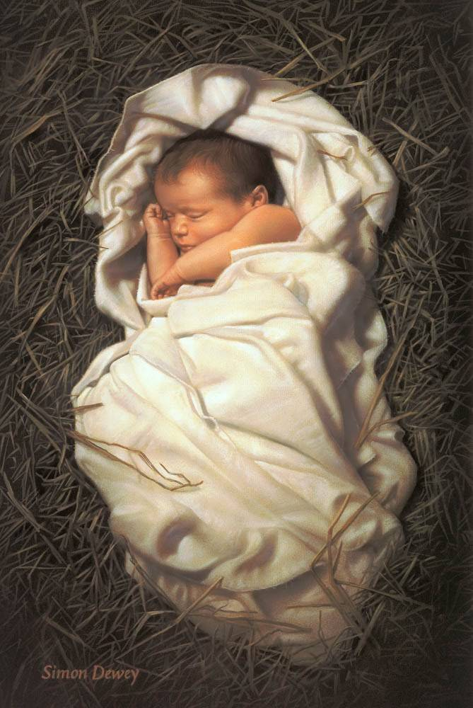 LDS art painting of infant Christ wrapped in swaddling clothes and sleeping in a manger.