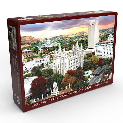 LDS art puzzle featuring a photo of Temple Square by Robert A. Boyd.