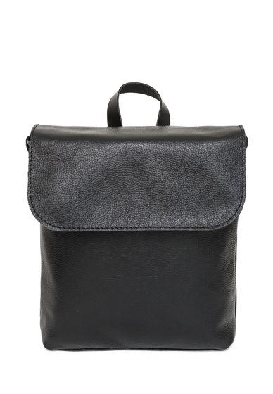 Кожаный черный женский рюкзак City mini black