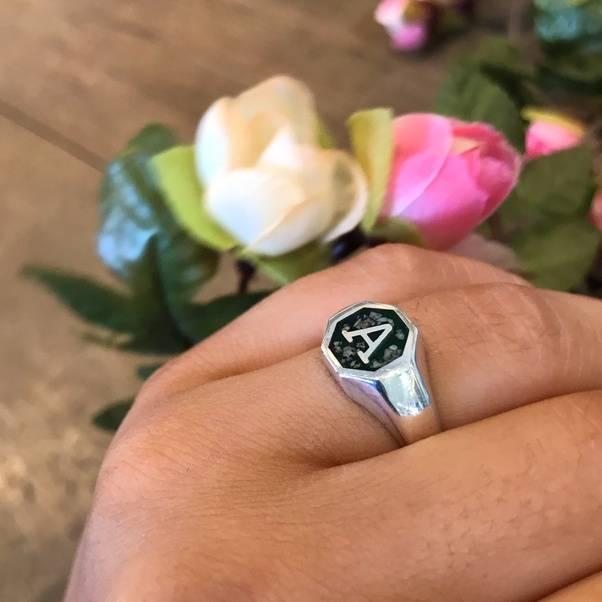 cremation ash signet ring
