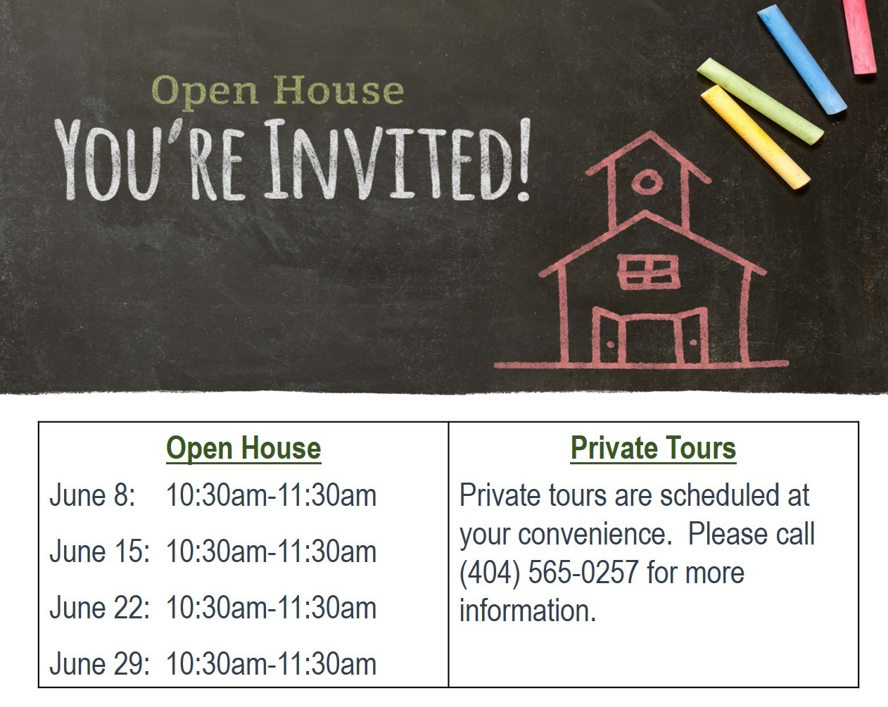 Open House Calendar