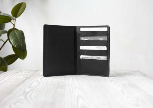 """Портмоне, холдер для паспорта, карт, банкнот """"Черный краст"""""""