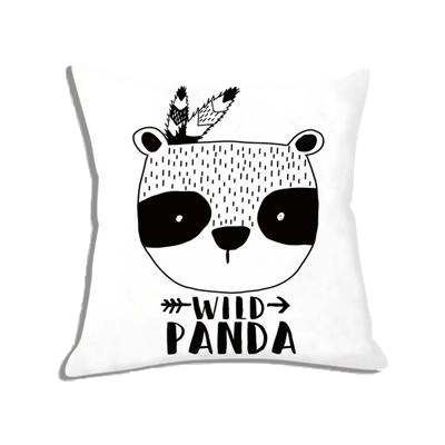 coussin blanc panda