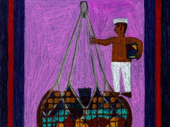 Stevedore, Eddie Arning, Wax crayon on paper, 16 x 20 in., Gift of Mr. and Mrs. Alexander Sackton, (88.17.3)