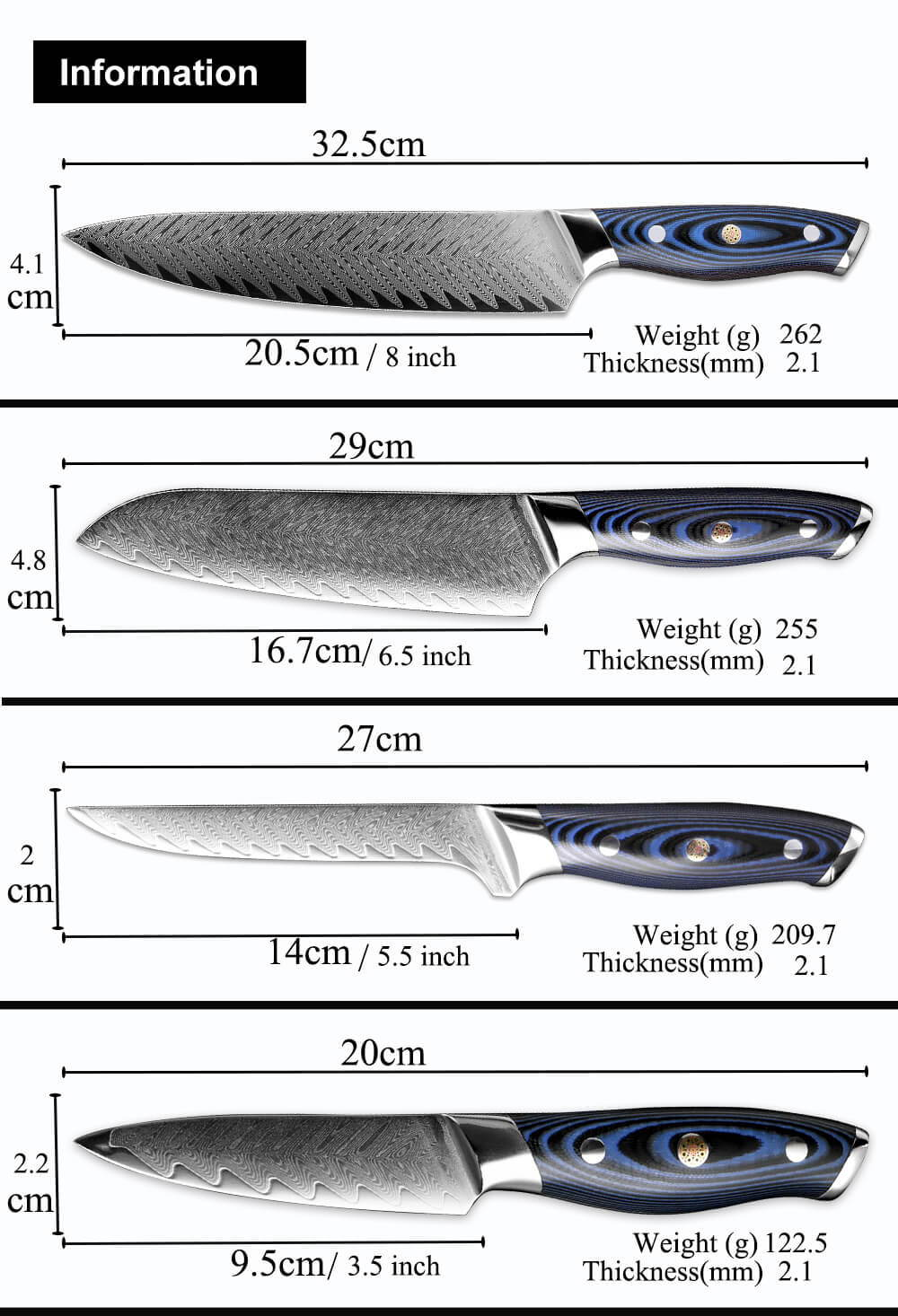 Seido Kitchen Knife Set Dimensions