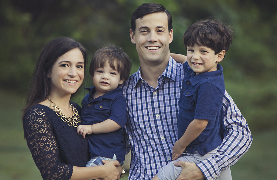 Franchise Owners of Primrose School Olivia and Jarrad Vaughn with their family