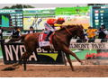 Framed Photo of Justify Winning the Belmont Stakes Autographed by Mike Smith