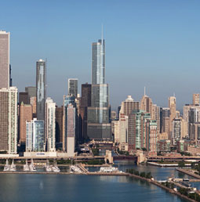 The Trump Tower stands out on the Chicago skyline.