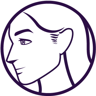 purple sideburns icon showing the side portfolio of a women