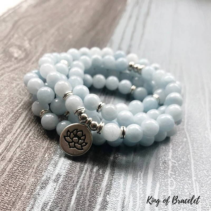 Bracelet Mala en Perles Aigue Marine - King of Bracelet