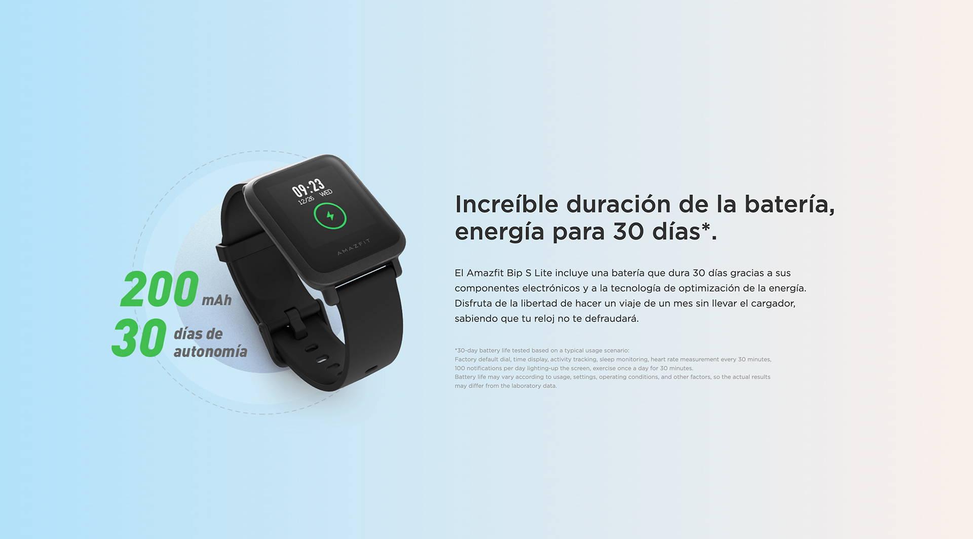 Amazfit ES - Amazfit Bip S Lite - Increíble duración de la batería, energía para 30 días.
