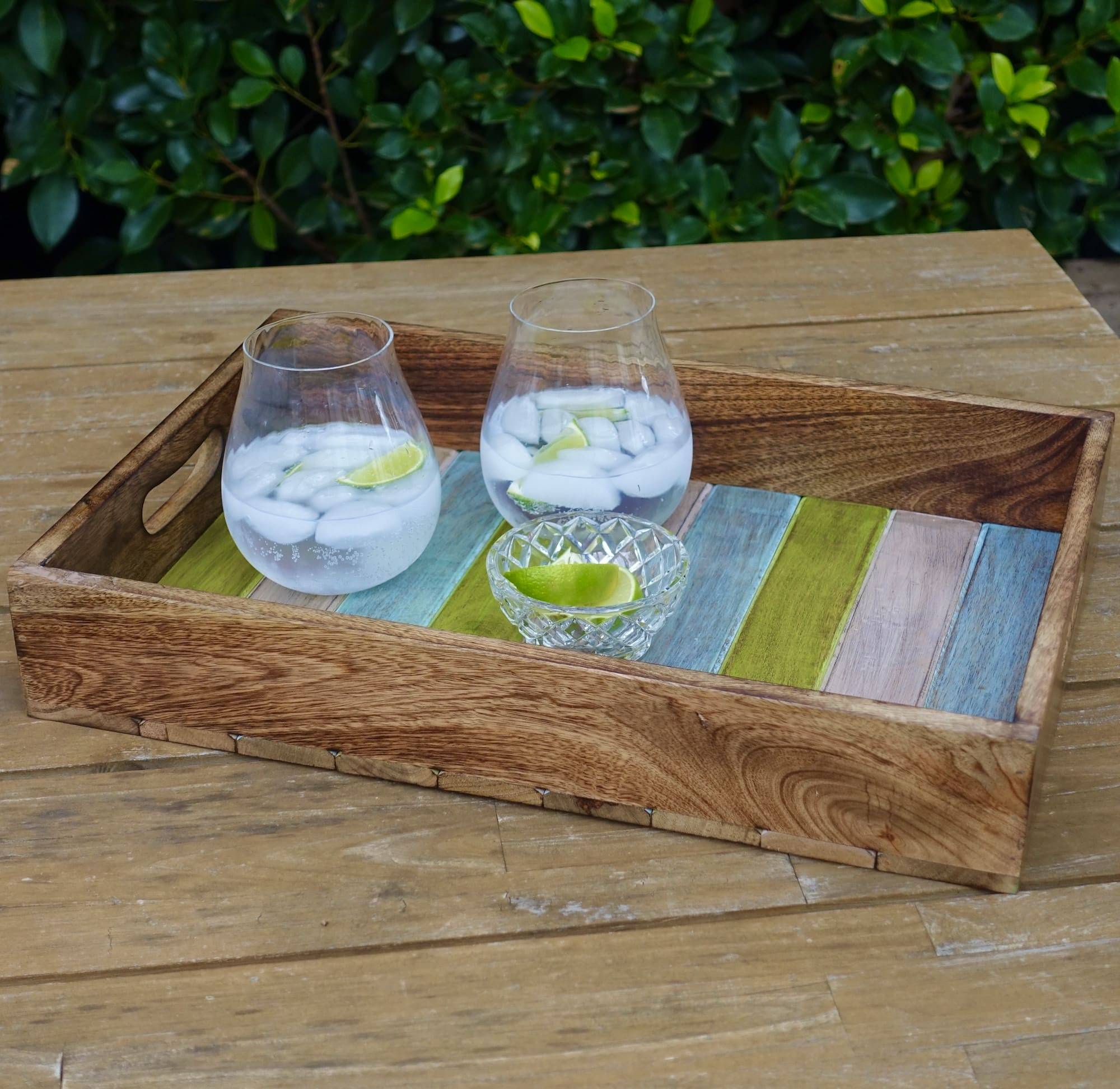 wooden tray blue green