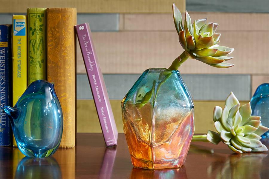 iridescent glass flower vase