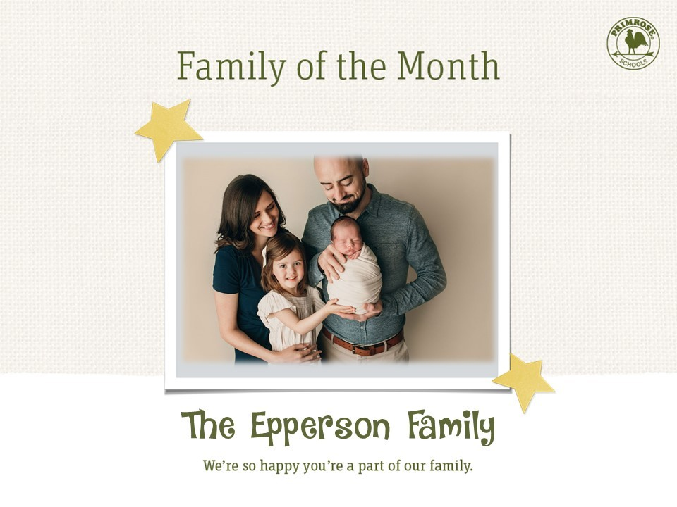 family of the month four mother daughter father son baby preschool infant preston meadow primrose schools