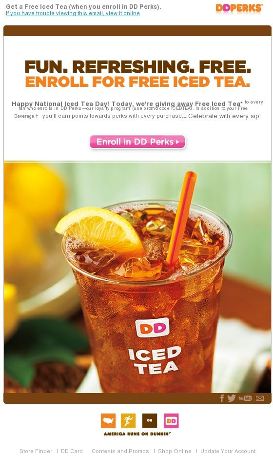 Both the email campaign and landing page are concise and simple. Plus, the email contains a high-quality image of a refreshing iced tea.