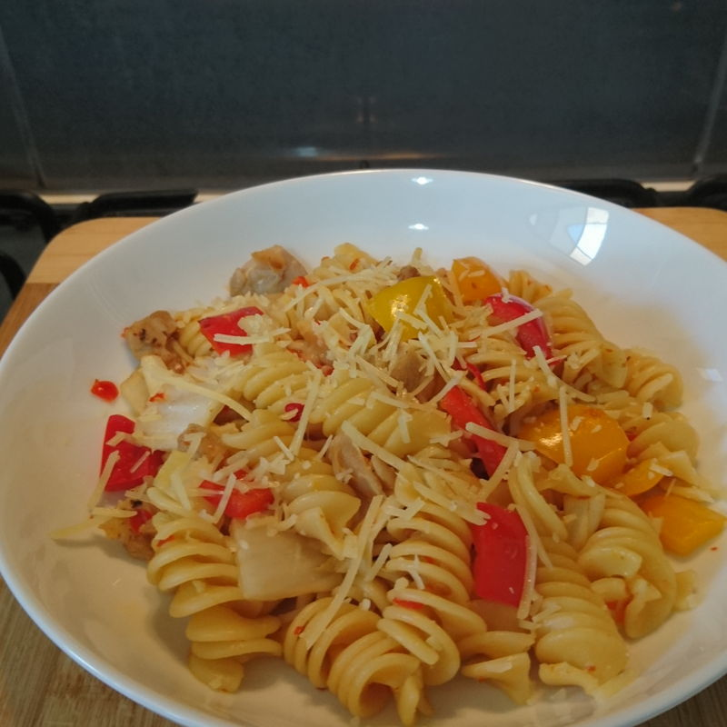 Date: 18 Jan 2020 (Sat) 63rd Main: Sweet Chilli Chicken Pasta (Pollo Picante) [187] [138.6%] [Score: 9.8] Cuisine: American Dish Type: Main Vapiano is a German restaurant franchise company that offers Italian fast food. Pasta is an Italian dish. The alternative name Pollo Picante (lit. Spicy Chicken) is Spanish. The dish is certainly not Spicy Chicken but a pasta dish. The correct Spanish translation would be Pasta de Pollo con Chile Dulce. Interestingly, how does the alternative name could be Pollo Picante? One more thing, spicy is always spelt as picante in Spanish. Where does picanté with an accent on the e came from?  One more thing. Cuisine is certainly not American. Pasta is Italian. The alternative name is Spanish. Restaurant is German. The sweet chilli is Asian. So, cuisine is Italian-Spanish-Asian? Please enlighten me, if I'm worth to be enlightened.    BTW, the Guardian gave this dish a 9.8 and 9.8 it is :)  Thank you for this inspiring international dish, Nyonya Cooking :)