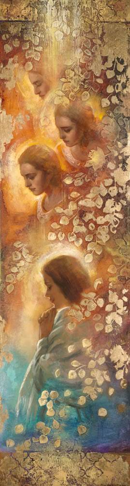 Bookmark featuring LDS art angels by Annie Henrie Nader.