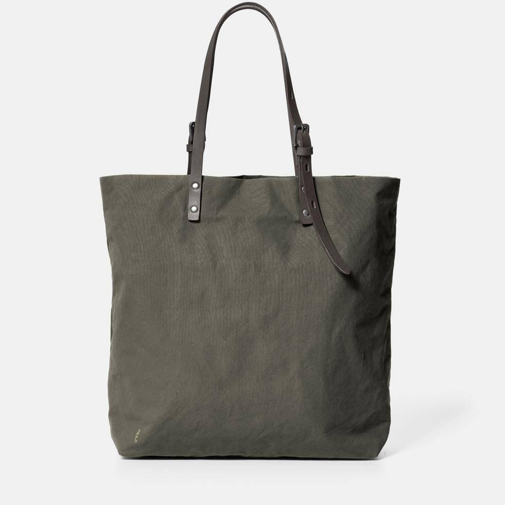 Ally Capellino Natalie Waxed Cotton Handbag in Green