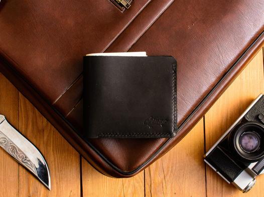 Тонкий кожаный бумажник -WAVE- из натуральной кожи цвет Черный Уголь