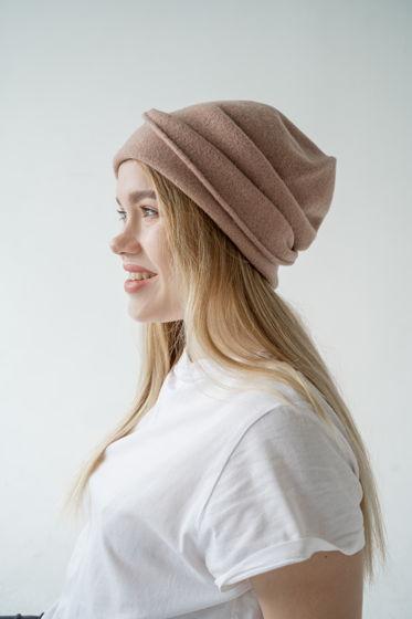 шапка-колпак из шерсти,цвет бежевый.