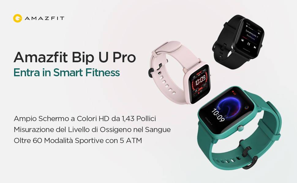 Amazfit Bip U Pro - Entra in Smart Fitness: Ampio Schermo a Colori HD da 1,43 Pollici   Misurazione del Livello di Ossigeno nel Sangue   Oltre 60 Modalità Sportive con 5 ATM.