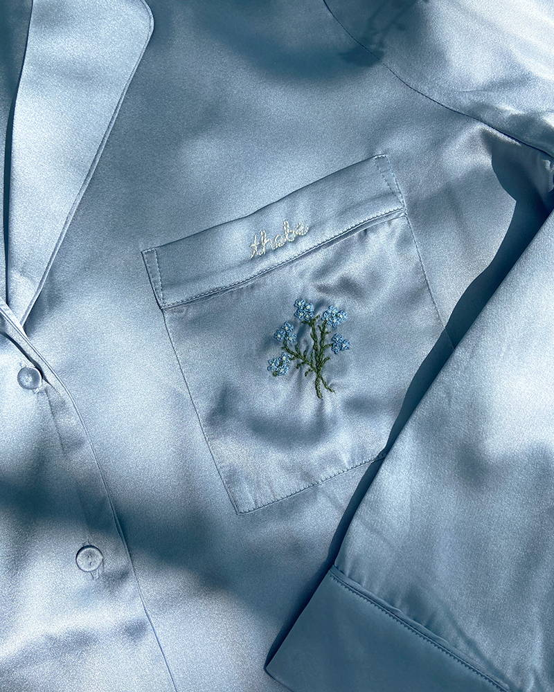 Yolke bespoke monogrammed silk pyjamas