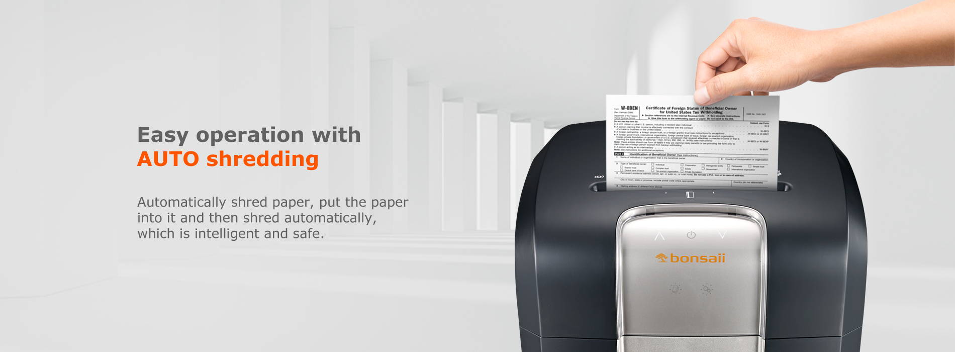 Easy operation with AUTO shredding Automatically shred paper, put the paper into it and then shred automatically, which is intelligent and safe