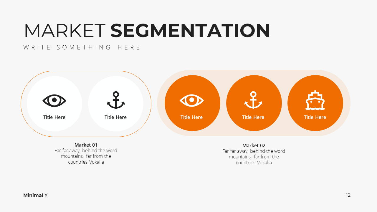 Minimal X  Marketing Plan Presentation Template Market Segmentation