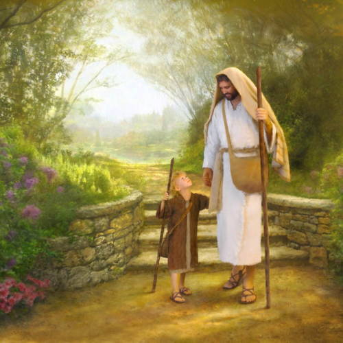 Painting of Jesus walking with a young shephered boy.