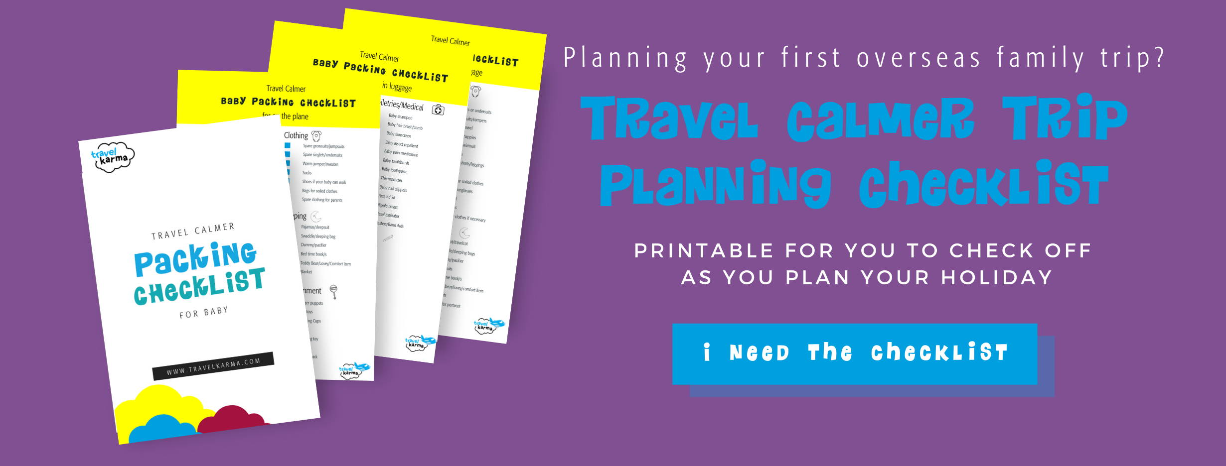 Travel calmer packing checklist for family trip