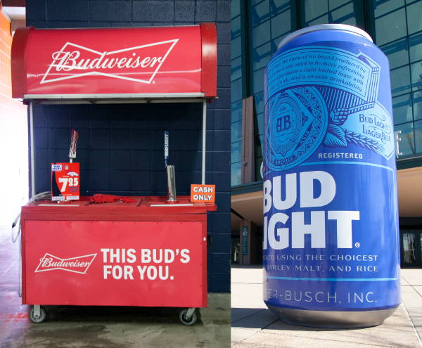 Art & Posters - Budweiser Stand and Bud Light Large Can
