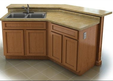 ISLAND F: ANGLED ISLAND WITH RAISED BAR AND SINK OR DISHWASHER OPTION