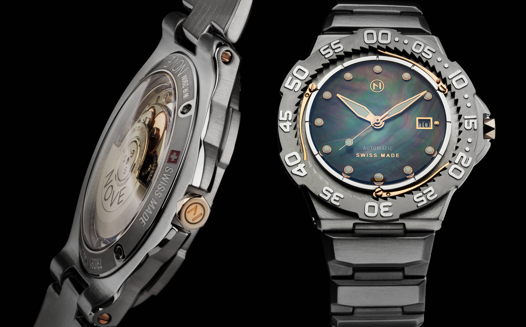 Silver slim trident automatic dive watch tool watch with beautiful Tahitian mother of pearl dial