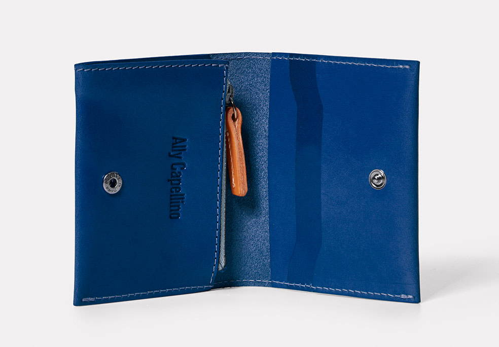 Riley Leather Coin Card Purse in Blue Inside