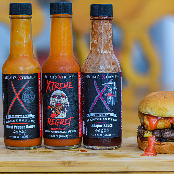 hot sauce gift pack, elijah's  xtreme, hot sauce, best hot sauce, cooking with hot sauce