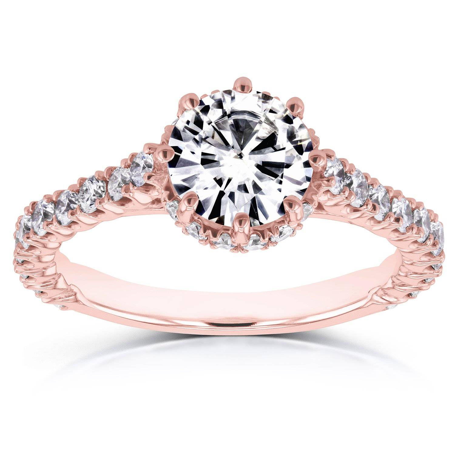 8 prong rose gold engagement ring