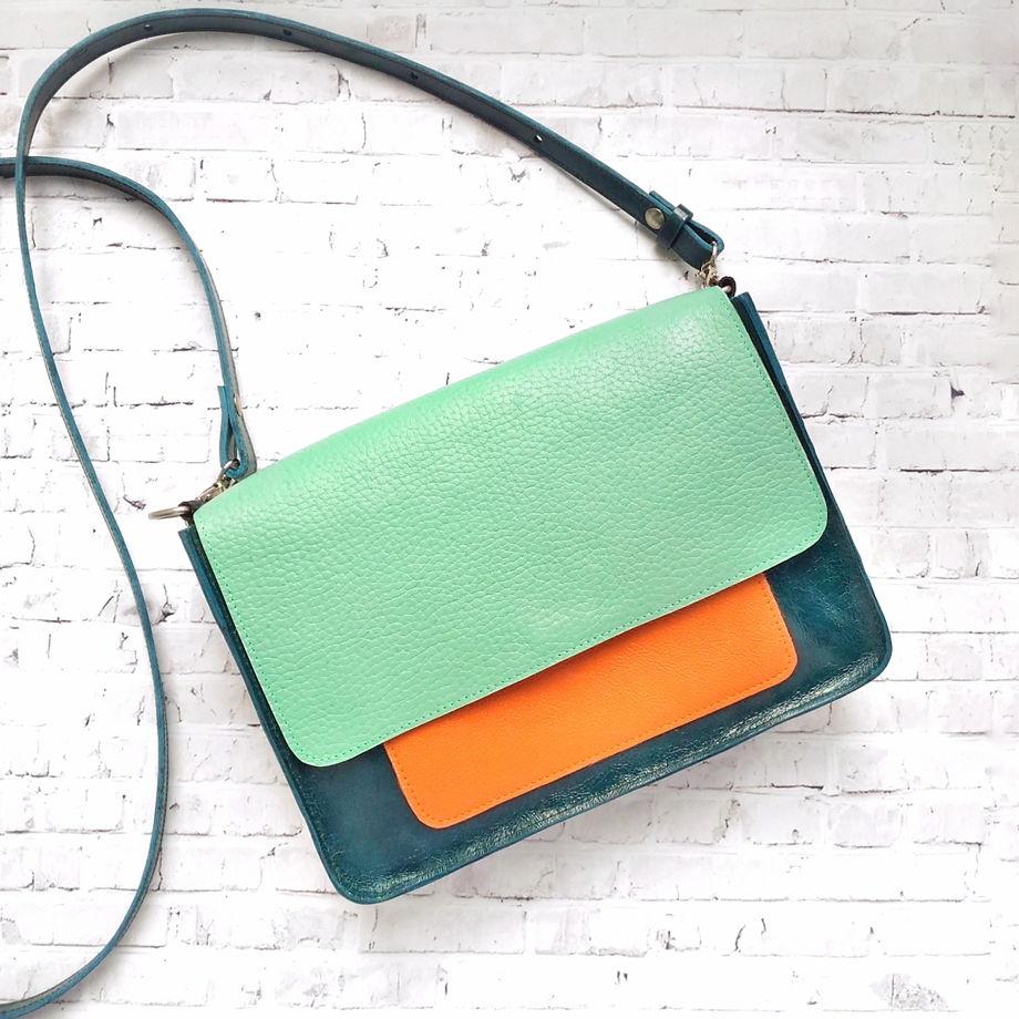 """Трехцветная сумка через плечо размера S """"Мандарин"""""""