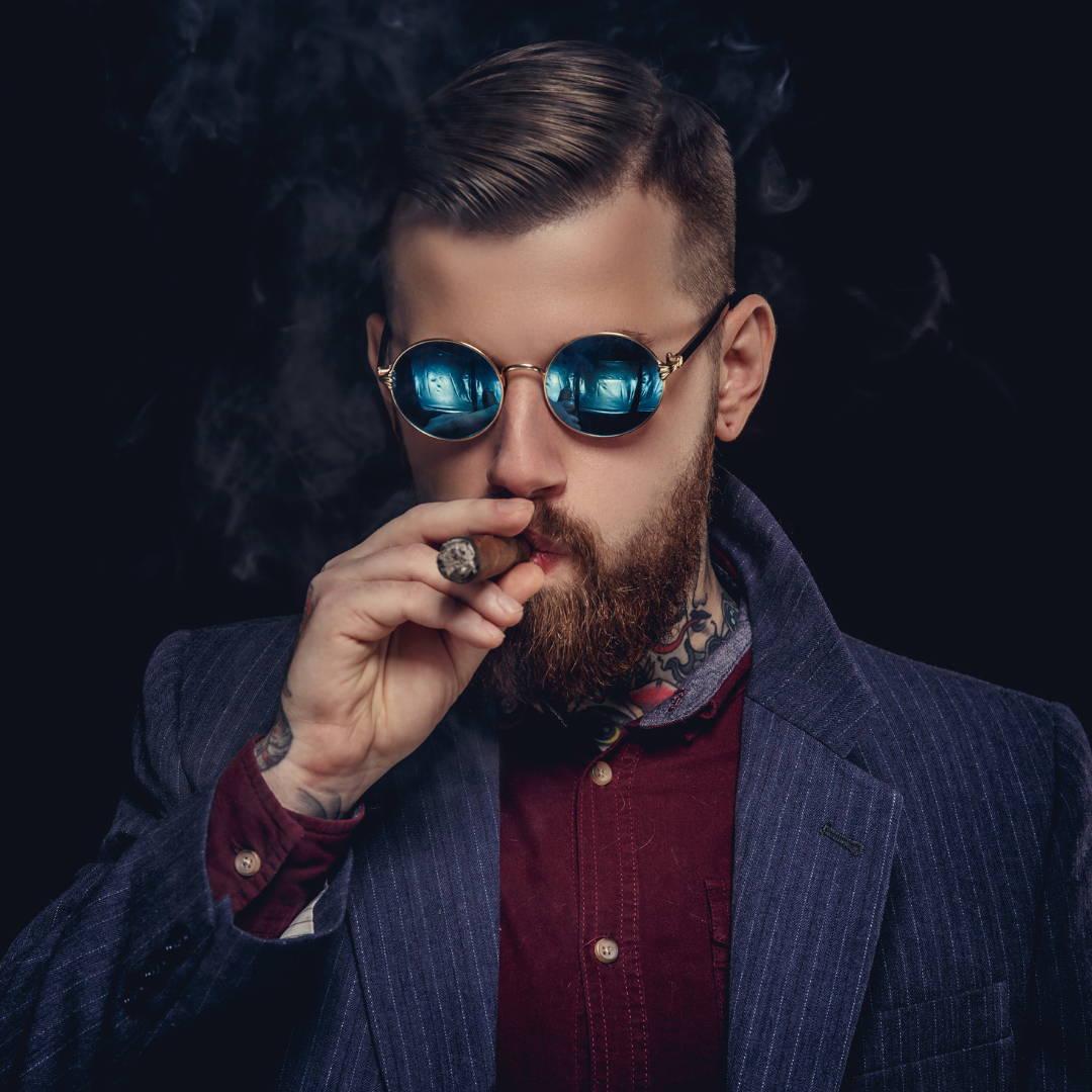 Man Made Beard Model smoking a cigar