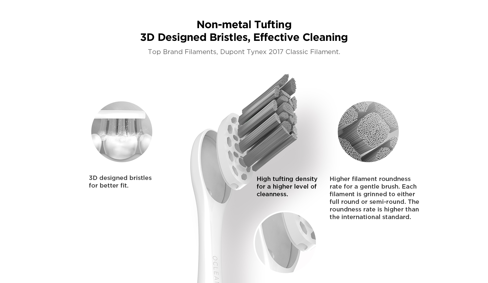 Non-metal tufting 3D designed bristles ,effective cleaning