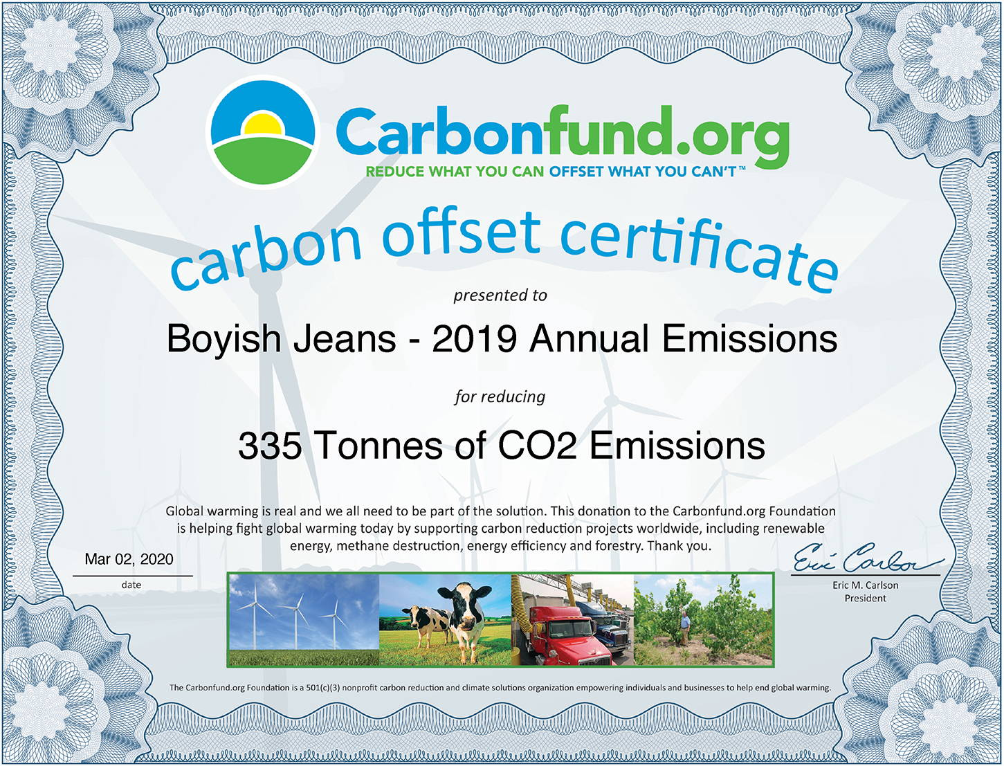 Carbonfund.org - Boyish Jeans carbon offset certificate - 2019 Annual Emissions - 335 Tonnes of CO2 Emissions