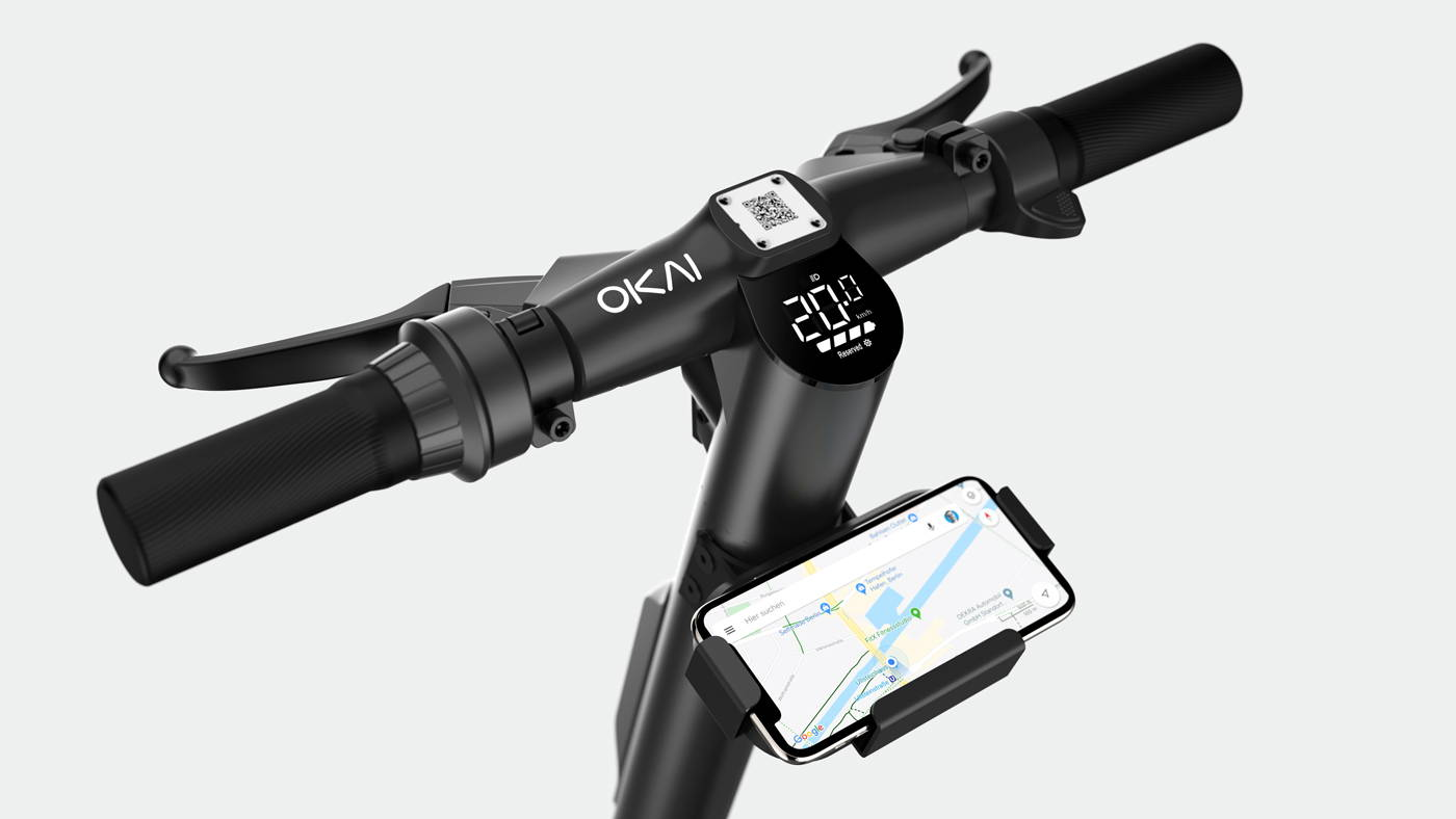 Okai Electric Scooter & Electric Bike Manufacturer, ES400 Electric Scooter Handlebar & Phone Holder