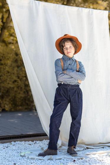 Рубашка для мальчика в клетку (сине-белый)