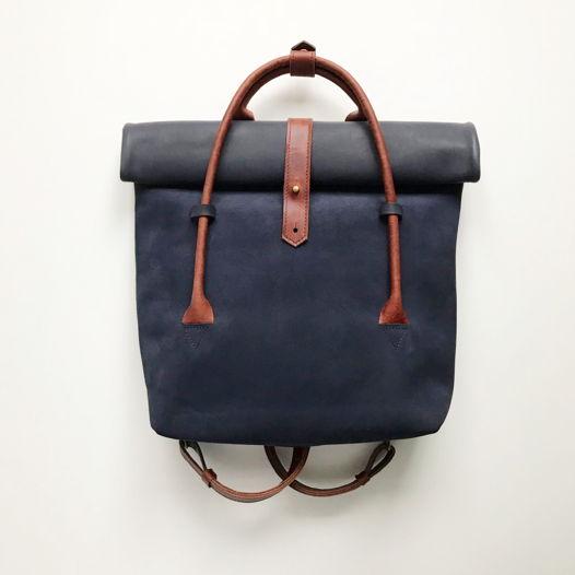 Кожаный рюкзак-сумка Rolltop Deep Blue/Cognac