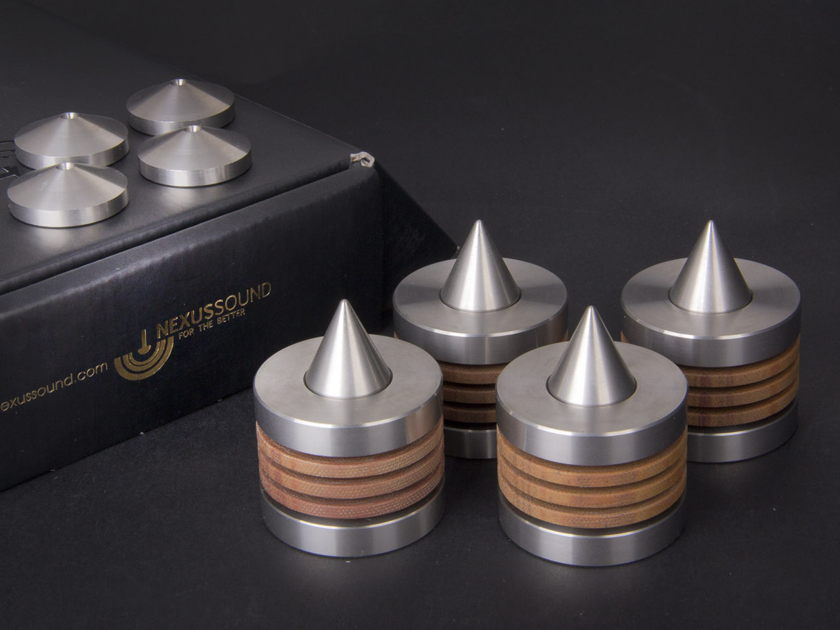 NEXUS SOUND VIBRATION - ISOLATION FEET S. STEEL AND ROSE WOOD LAYER