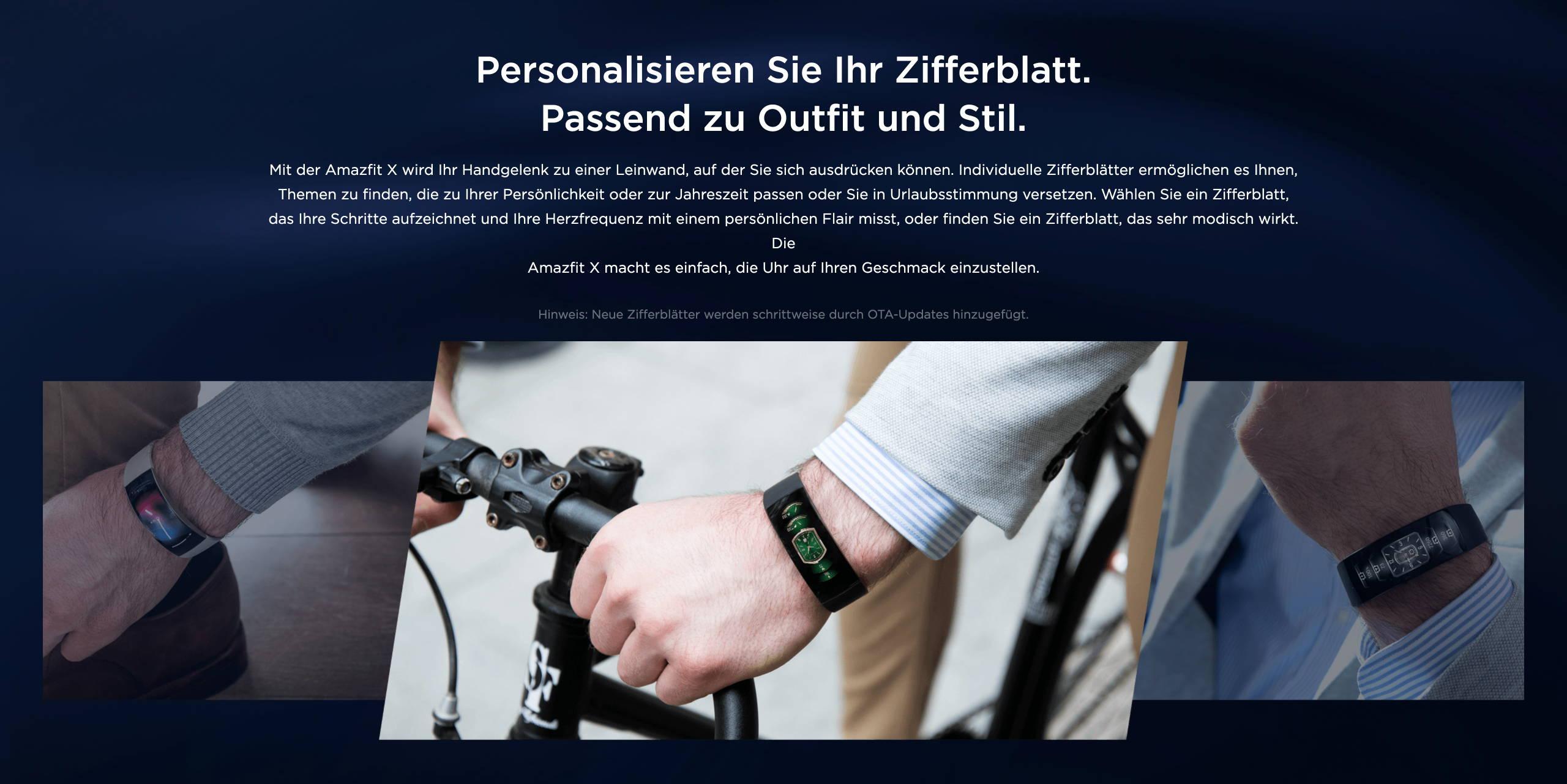 Amazfit X - Personalisieren Sie Ihr Zifferblatt. Passend zu Outfit und Stil.