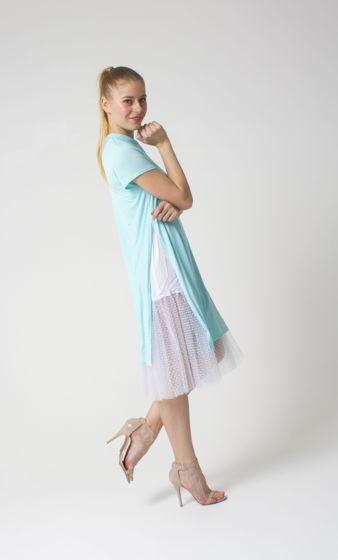 Платье двойное с фатином в горох по низу